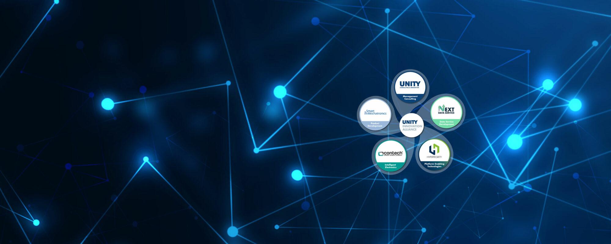 UNITY Innovation Alliance Kleeblatt mit allen Mitliedern auf blauem Hintergrund